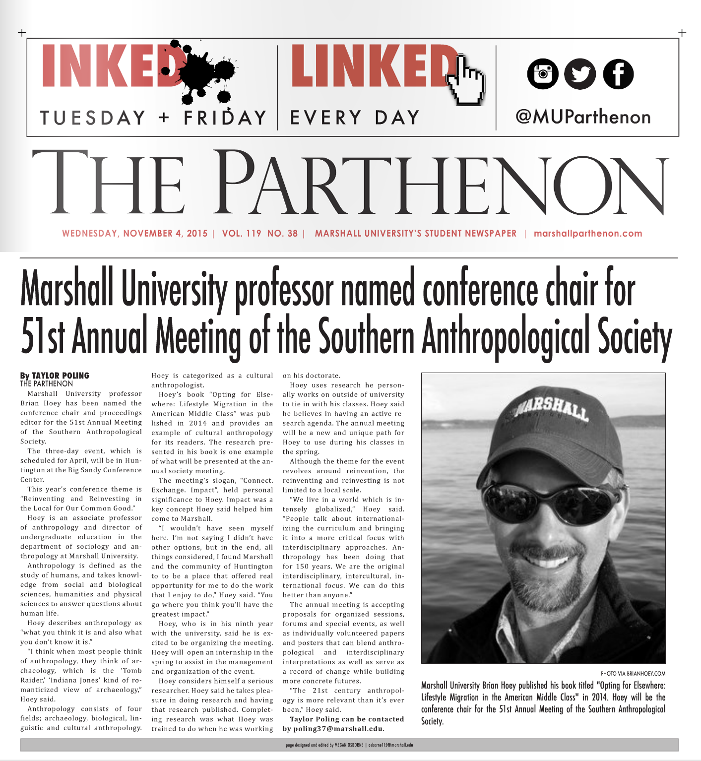 Parthenon article on Dr. Hoey's Position as Conference Chair for SAS 2016